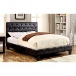 Kodell Black Crocodile Leatherette Queen Bed